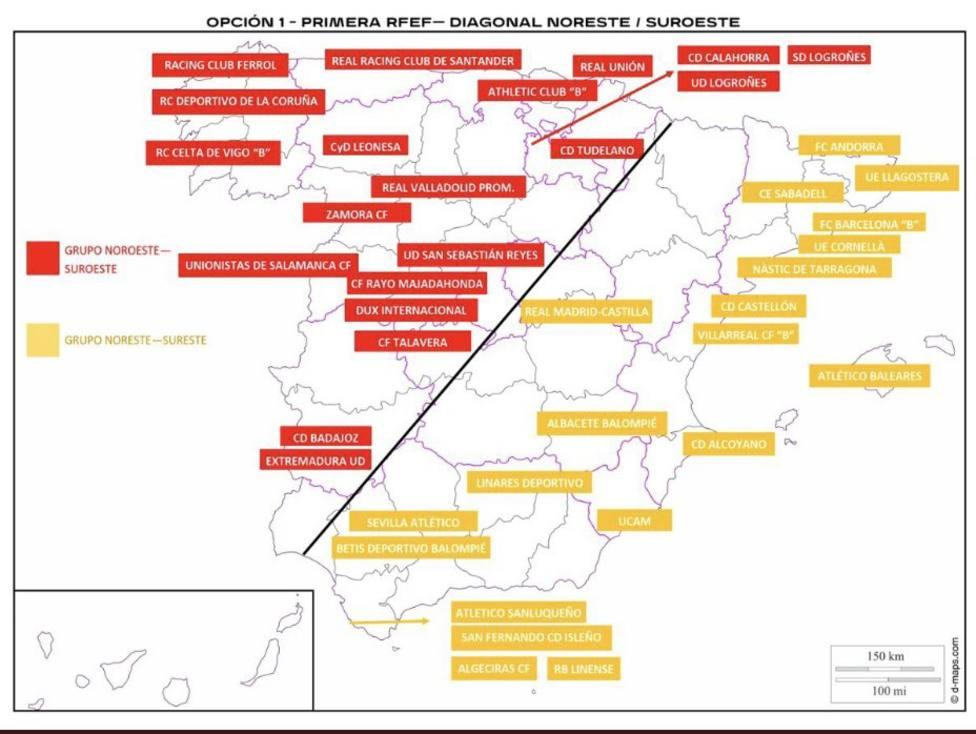 Plano con la distribución de los clubes que jugarán en los 2 grupos de la 1ª División RFEF