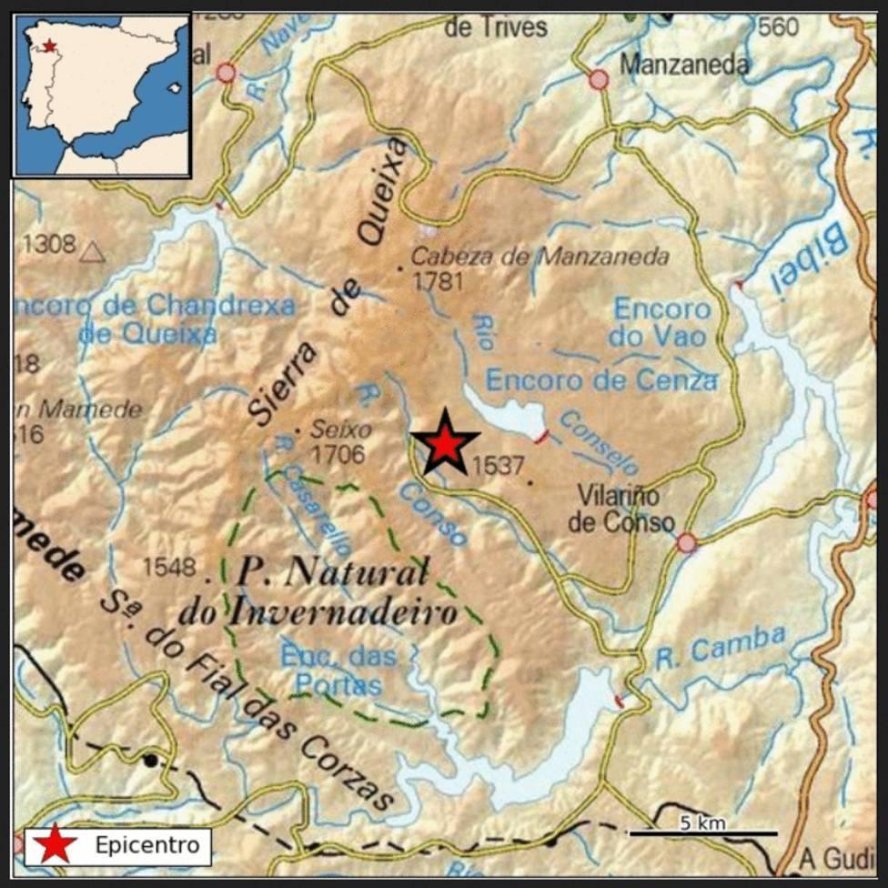 Epicentro terremoto Vilariño de Conso