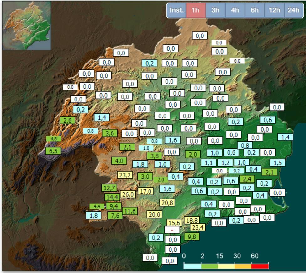 Se intensifican las lluvias en las últimas horas en la Comarca del Valle