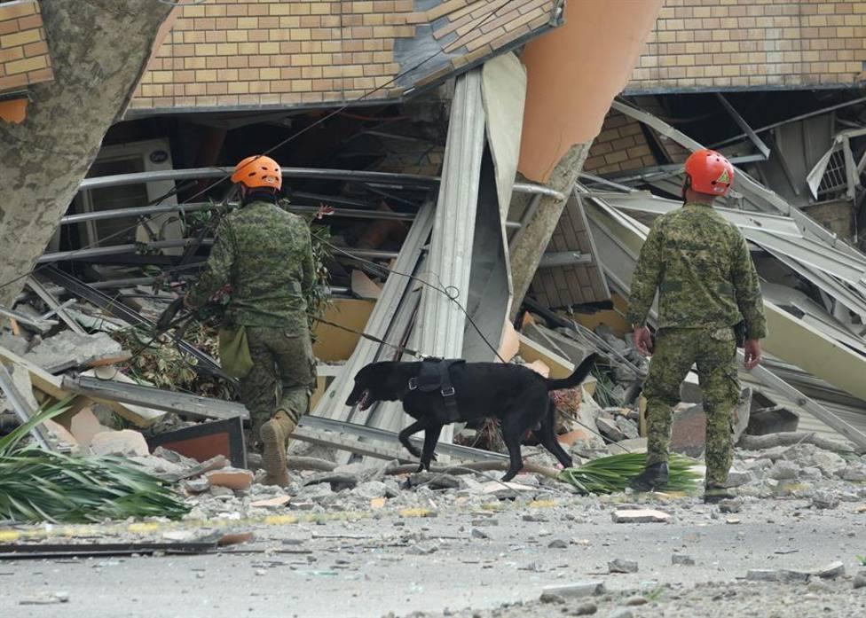 Agentes caninos buscando supervivientes tras el terremoto que afectó a Filipinas en octubre de 2019