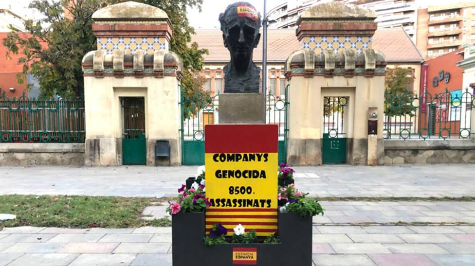 Así apareció el monumento de Companys en Lleida ayer por la mañana