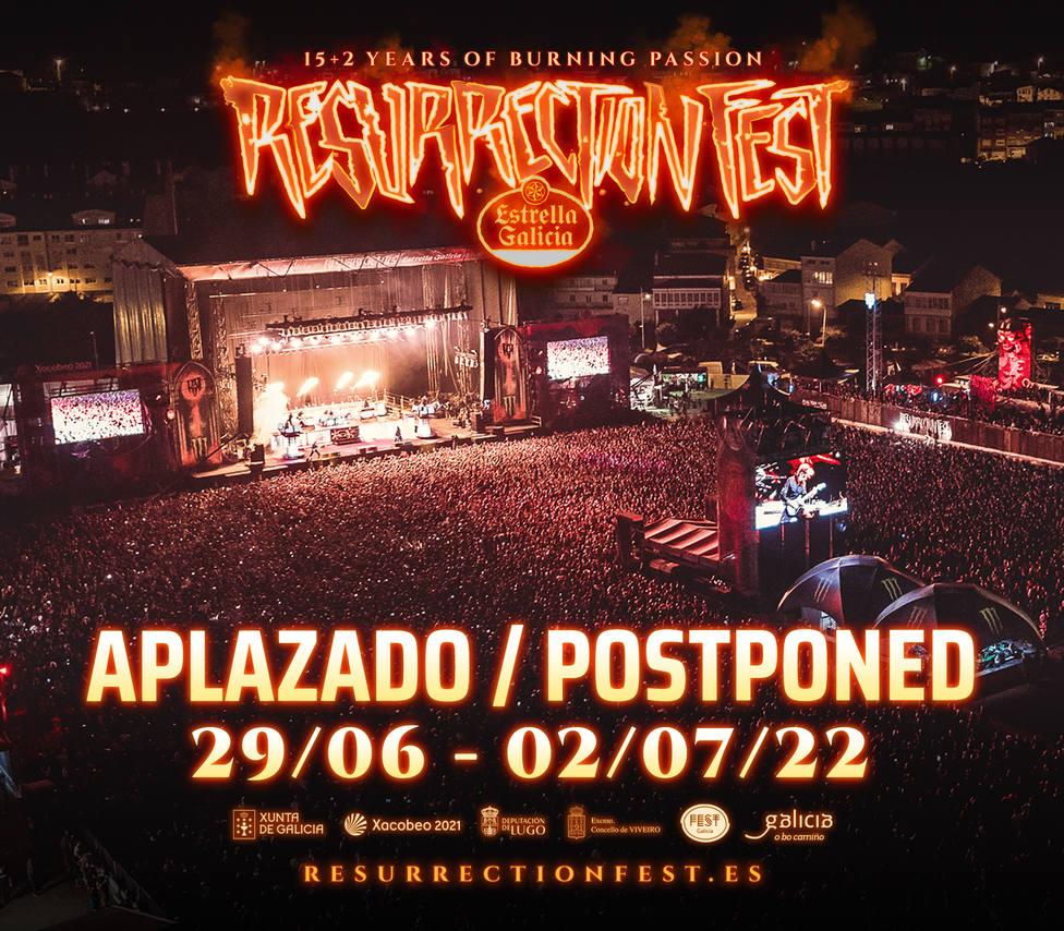 Cartel de aplazamiento del Resurrection Fest hasta el año 2022