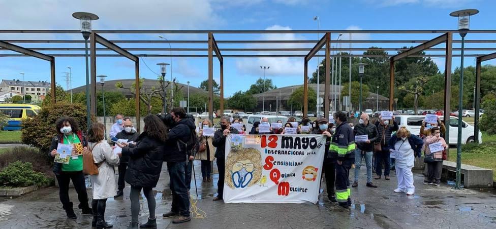 Concentración desarrollada ante el Hospital Arquitecto Marcide de Ferrol - FOTO: Cedida