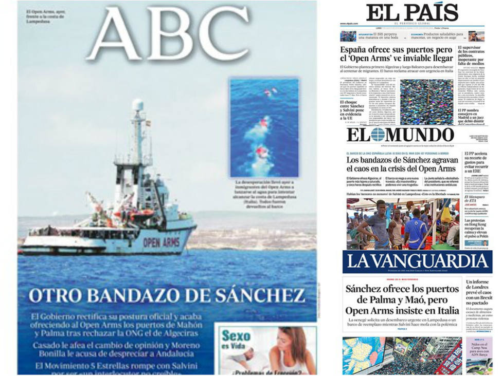 El Open Arms sigue sin una solución viable mientras Sánchez continúa dando bandazos, en la prensa