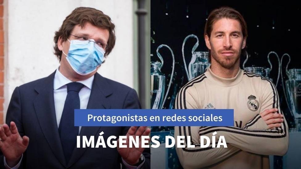 Imágenes del día: las curiosas mascarillas de Almeida y el mensaje de Ramos tras la victoria de España