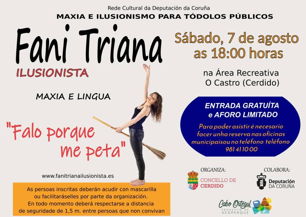 Fani Triana estará en el área recreativa de O Castro desde las seis de la tarde - FOTO: Concello de Cerdido