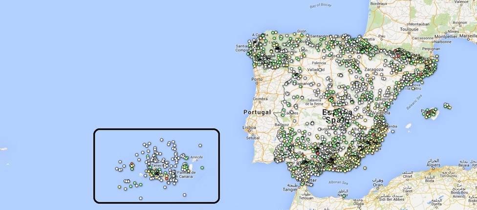 Mapa de actividad sísmica en España