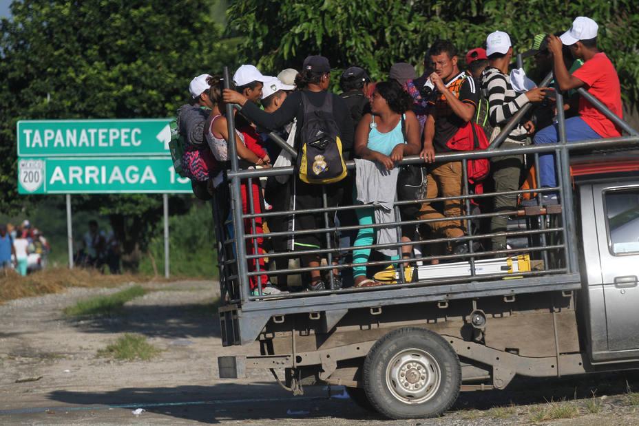 La caravana de migrantes hondureños durante su travesía por México hacia EEUU.