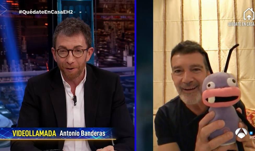 Antonio Banderas muestra un peluche de Barrancas en El Hormiguero