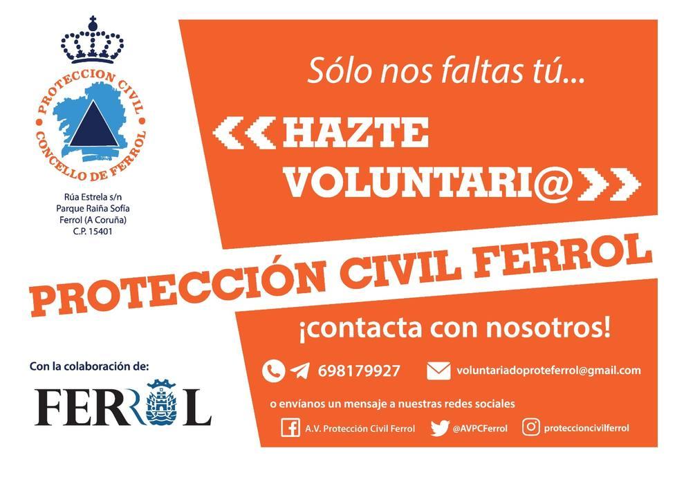 Cartel de Protección Civil de Ferrol para captar nuevos voluntarios - FOTO: Concello de Ferrol