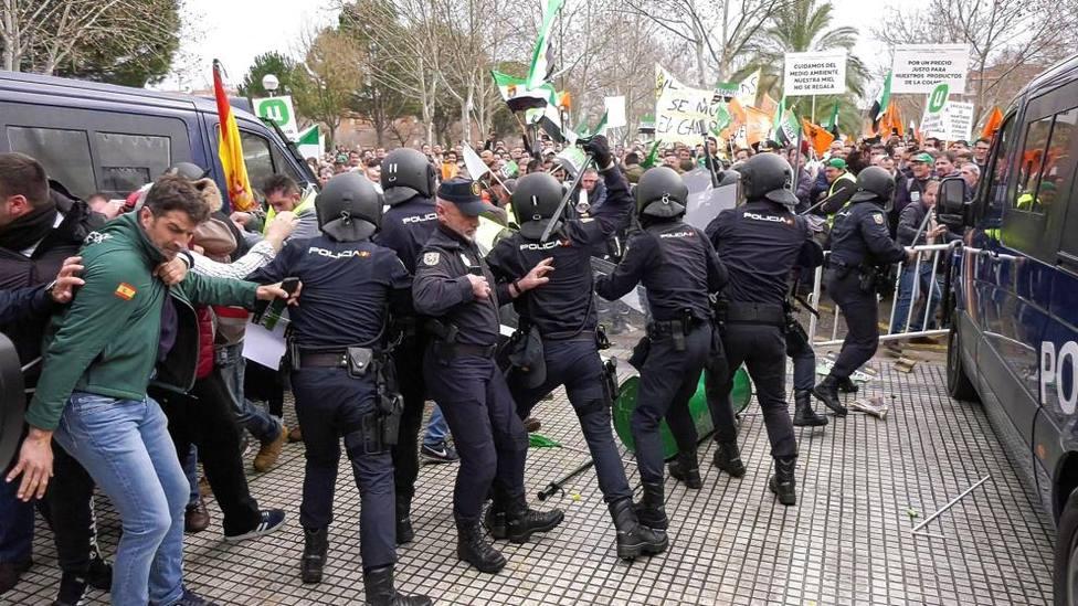 Manifestación de los agricultores en Don Benito (Badajoz) el pasado mes de enero. Foto: Jero Morales (EFE)