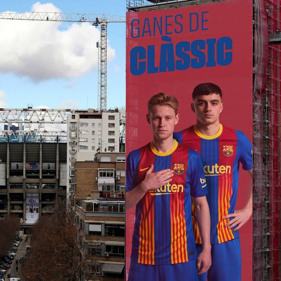 La pancarta virtual del FC Barcelona para el Clásico