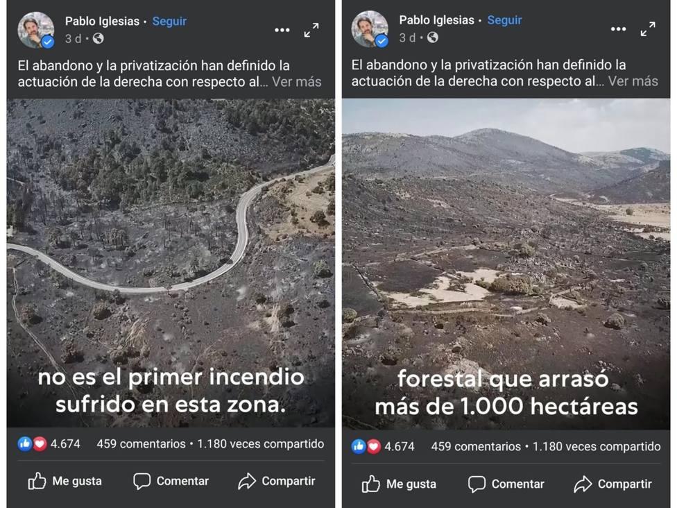 Captura de Facebook donde aparecen las imágenes sustraídas