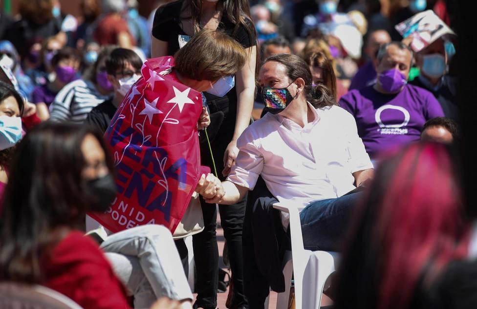 El líder de Unidas Podemos y candidato a la presidencia de Madrid en un acto en Móstoles