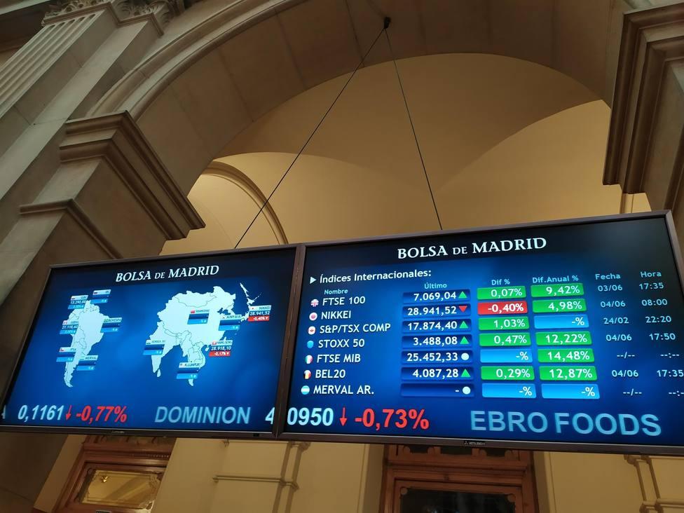 Panel de la bolsa de Madrid en la Plaza de la Independencia