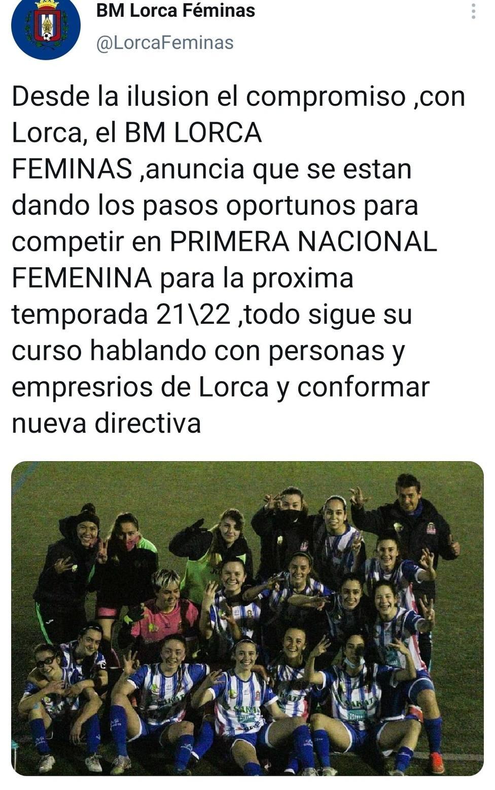 El Lorca Féminas presentará nueva directiva y confían en poder sacar adelante el proyecto 21/22