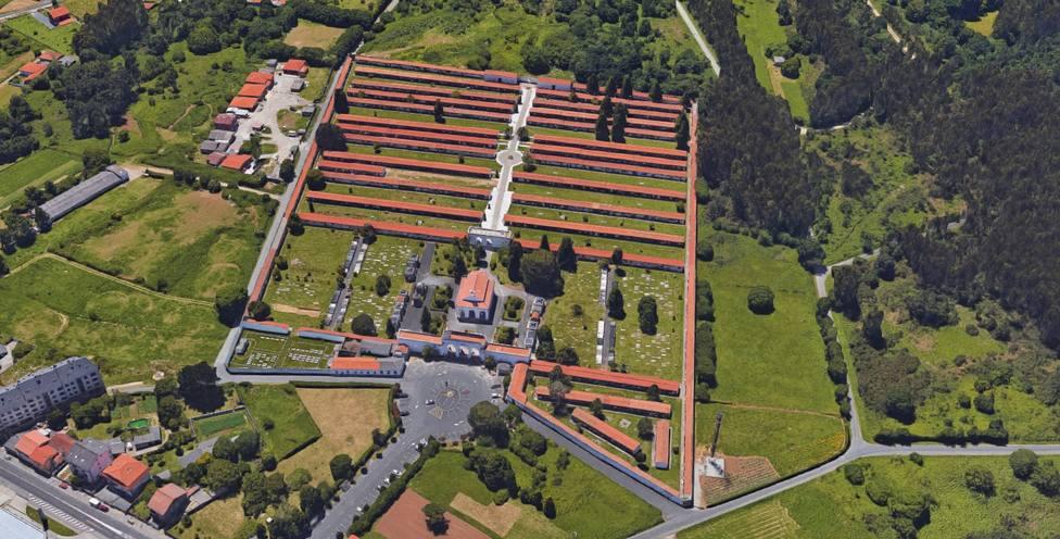 Vista aéra del cementario municipal de Catabois