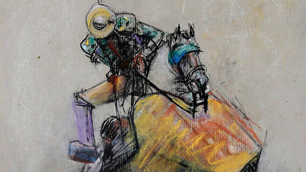 Detalle de la obra de Venancio Blanco titulada Suerte de varas