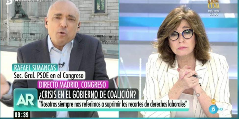 """La tensa discusión entre Ana Rosa y Rafael Simancas: """"Ahora la culpa la tiene el PP"""""""
