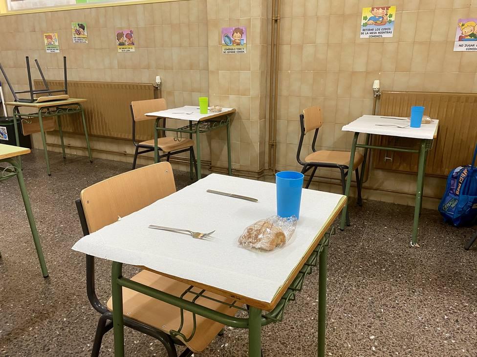 Foto de archivo de un comedor escolar en época COVID-19 - FOTO: Concello de Neda