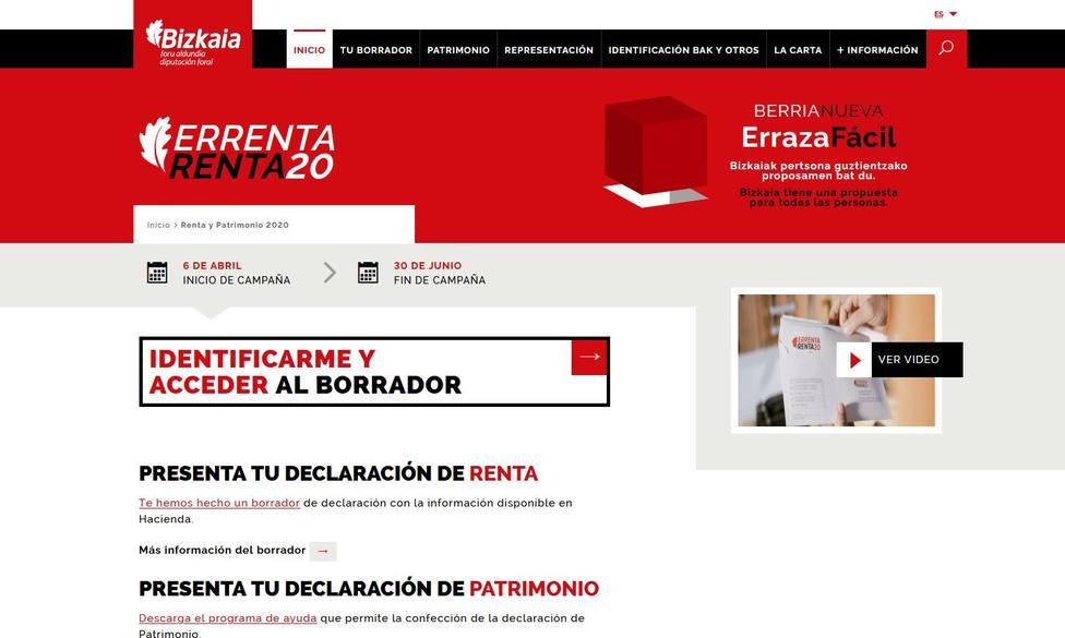 Imagen del portal foral para presentar el IRPF en Bizkaia