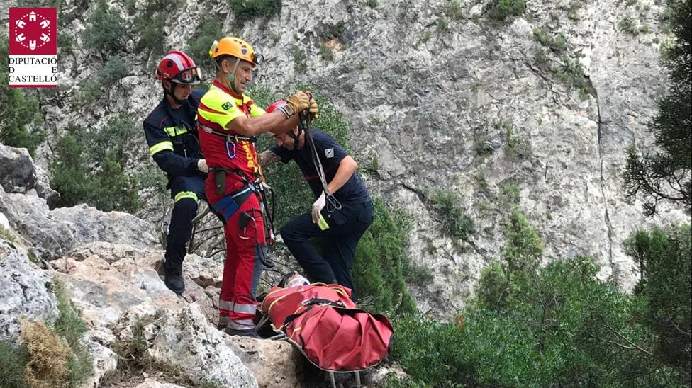 Rescate del escalador accidentado en Montanejos