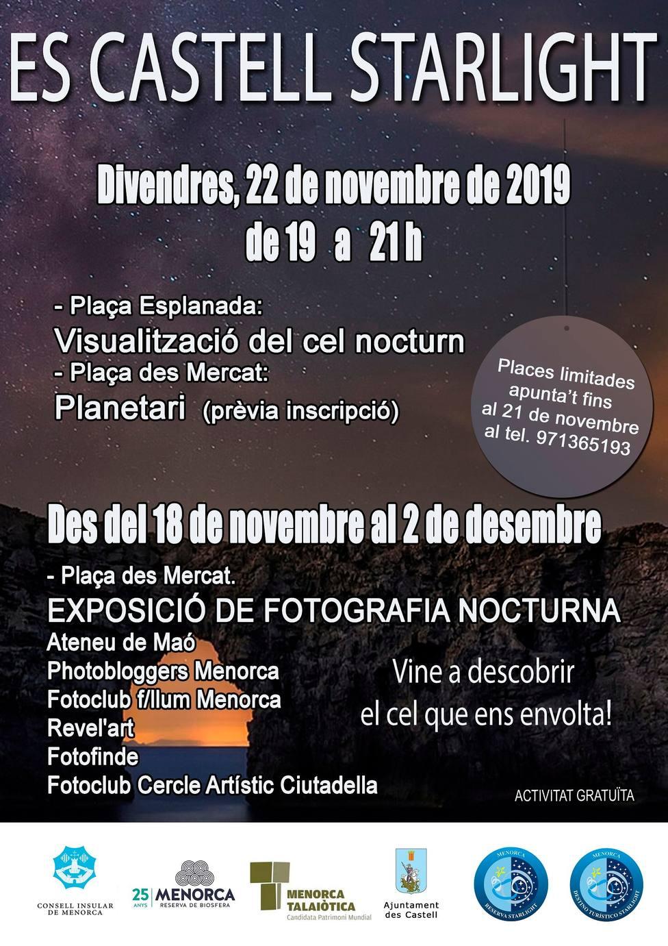 Es Castell acogerá una jornada dedicada a la astronomía, abierta a toda la ciudadanía