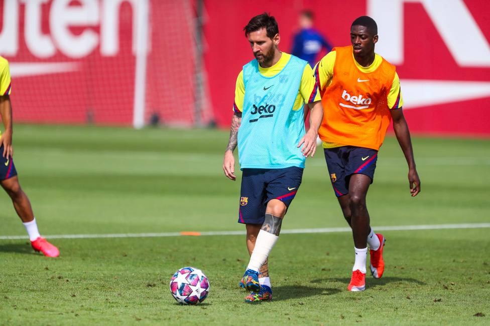 Leo Messi y Ousmane Dembélé