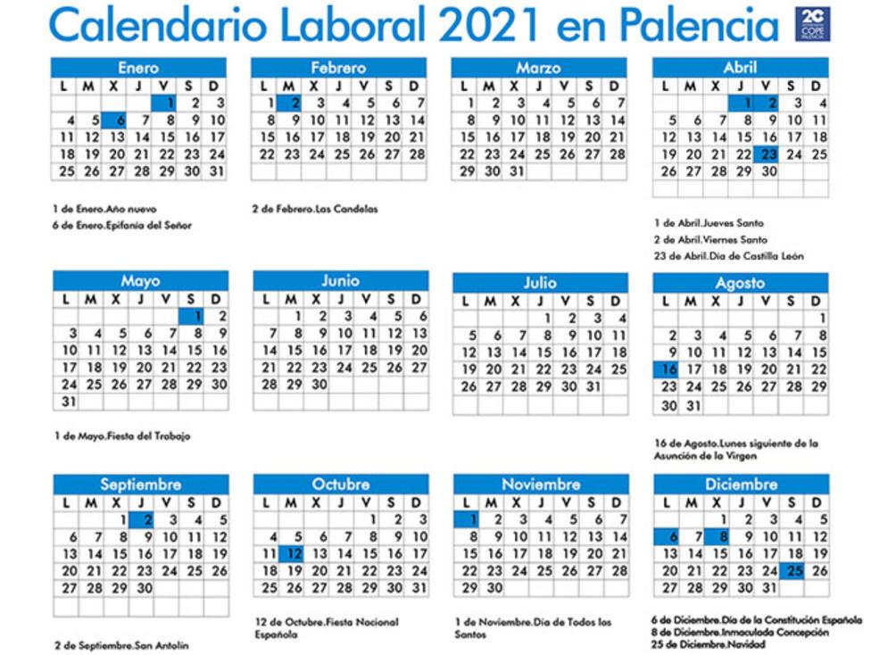 Calendario laboral de 2021 en Palencia: estos son todos los festivos del nuevo año