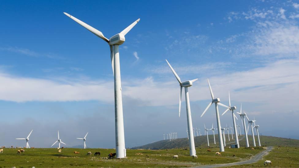 Foto de archivo de un parque eólico situado en nuestras comarcas
