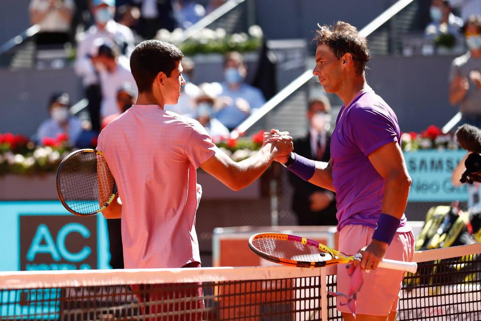 Alcaraz y Nadal durante el Mutua Madrid Open de 2021