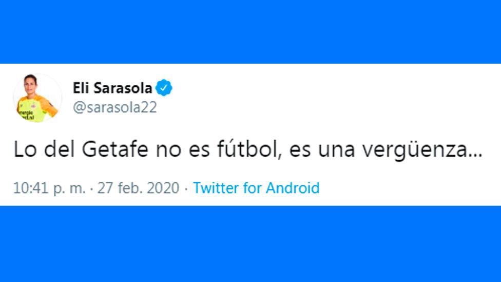 Tuit de Eli Sarasola tras la clasificación del Getafe para octavos de la Europa League