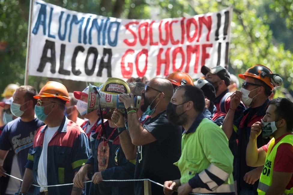 Protesta de trabajadores de Alcoa San Cibrao