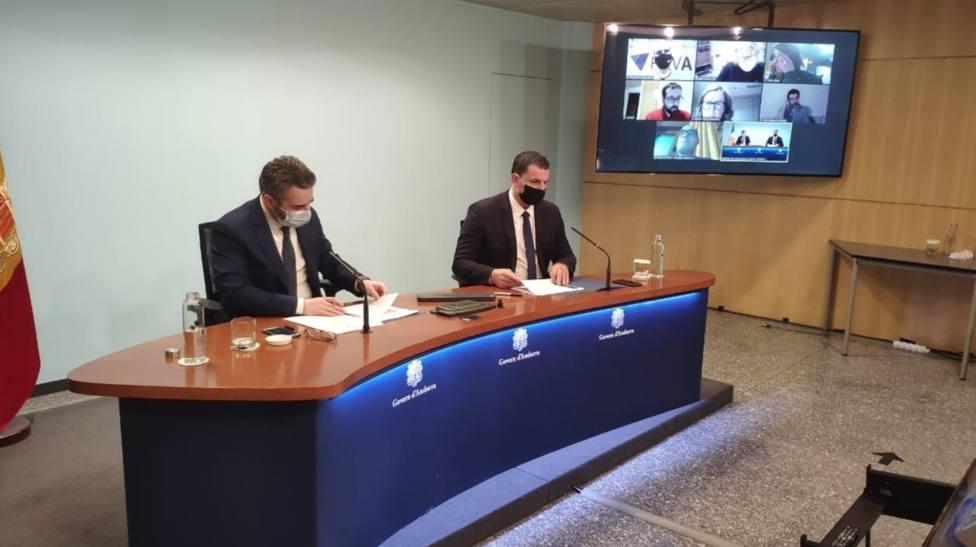 El Ministro Portavoz y de Finanzas, Eric Jover, y el Ministro de Presidencia y Empresa, Jordi Gallardo. - SFG