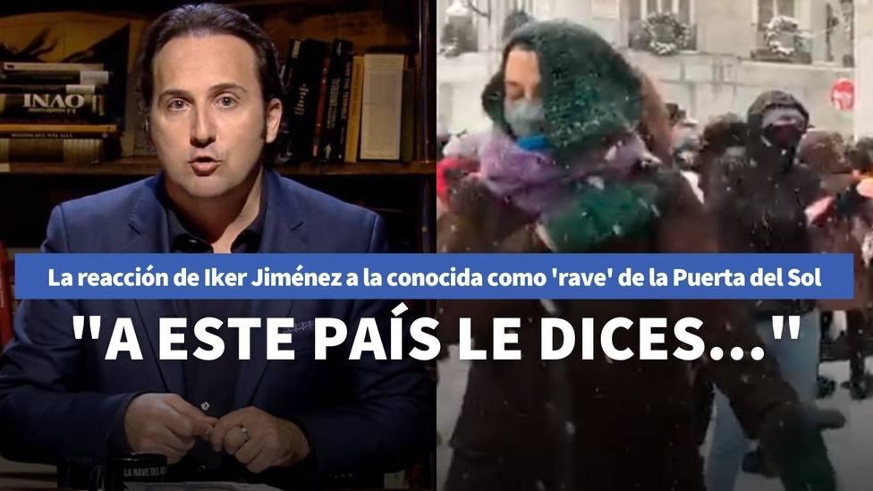 El enfado de Iker Jiménez tras ver las aglomeraciones de gente en la Puerta del Sol jugando con la nieve