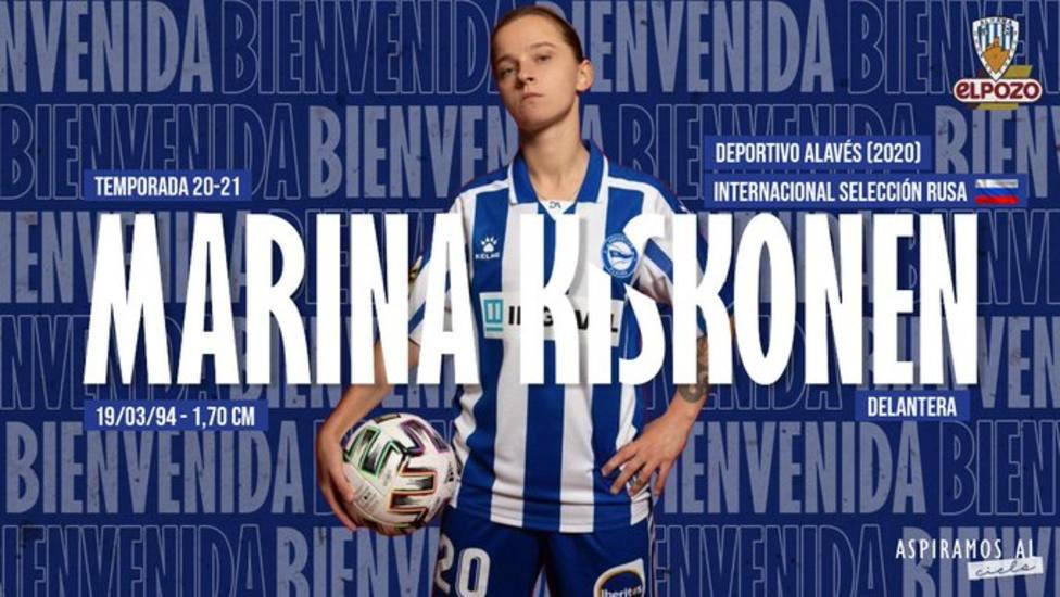 Alhama CF ElPozo incorpora a la rusa Marina Kiskonen