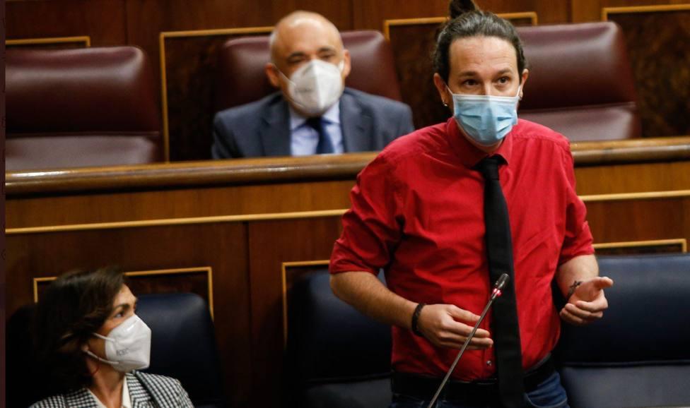 Pablo Iglesias en la sesión de control al Gobierno de este miércoles