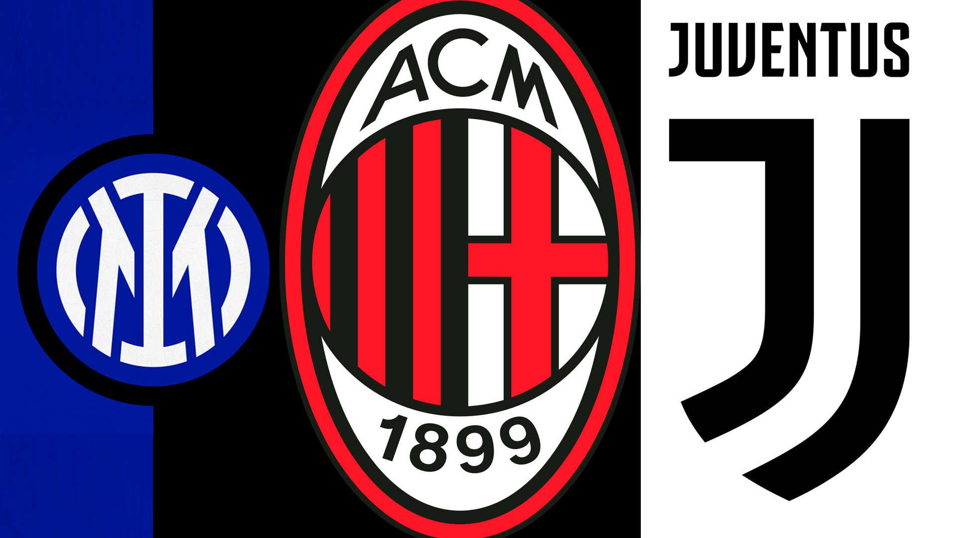 Inter de Milan, Milan y Juventus