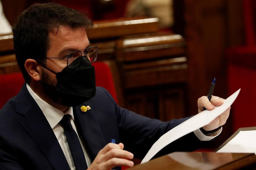 El candidato de ERC a la presidencia de la Generalitat, Pere Aragonès durante a la segunda jornada del debate