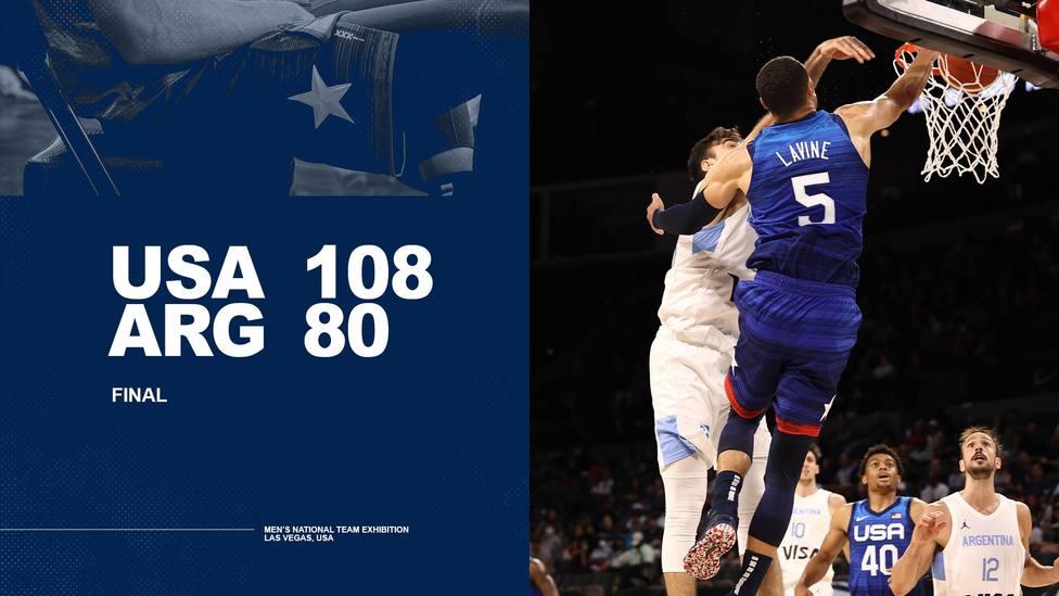 Final del partido entre Estados Unidos y Argentina.