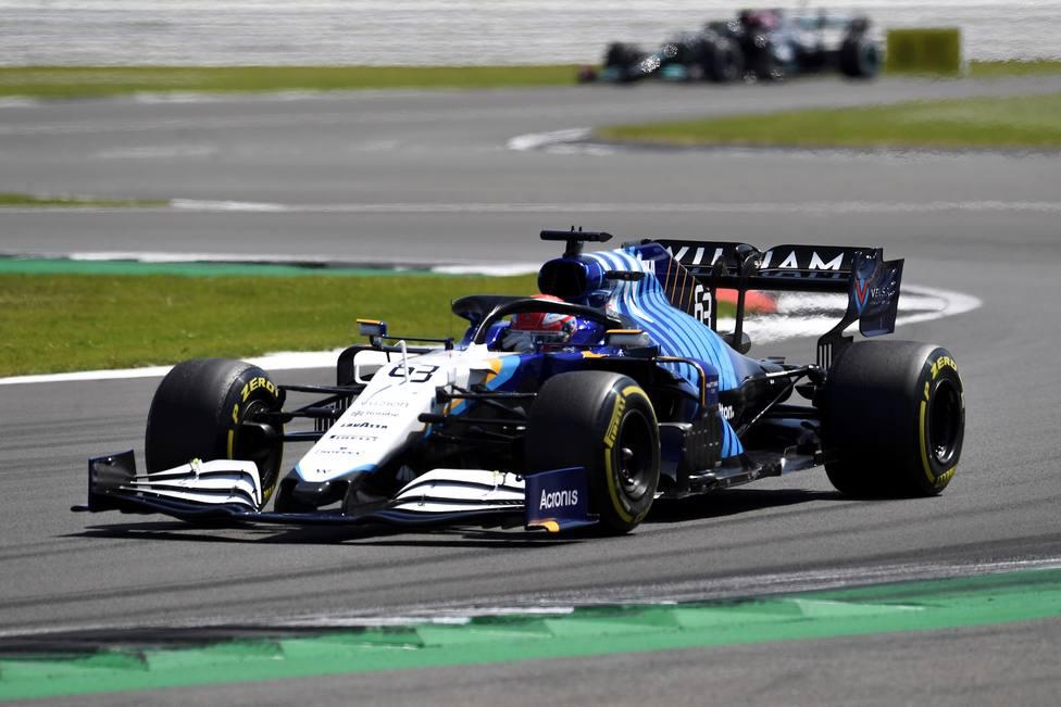Russell en el circuito de Silverstone