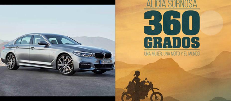 BMW serie 5 y portada del libro 360º, una mujer, una moto y el mundo