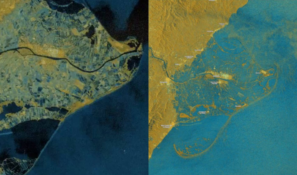 Delta del Ebro antes y después del paso de Gloria