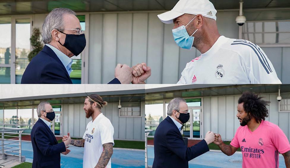 Florentino Pérez visita a la plantilla en el entrenamiento de este sábado