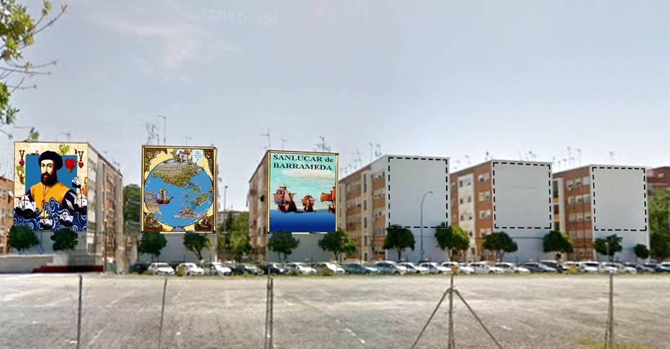 Sevilla.- Arrancan los murales gigantes en Tarfia en homenaje a Magallanes y Elcano, que podrían ser récord Guinness