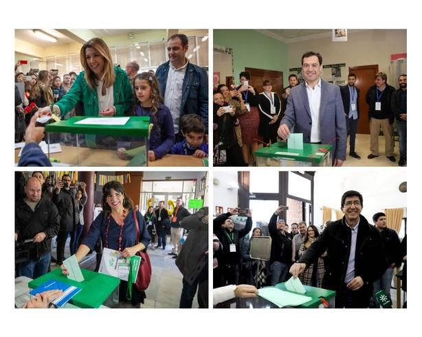 Los principales candidatos a la Presidencia de la Junta coinciden al ir a votar en llamar a la participación masiva