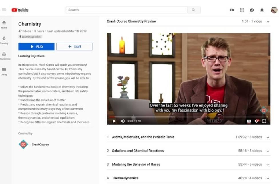 YouTube presenta las listas de reproducción educativas, que no mostrarán vídeos recomendados por su algoritmo