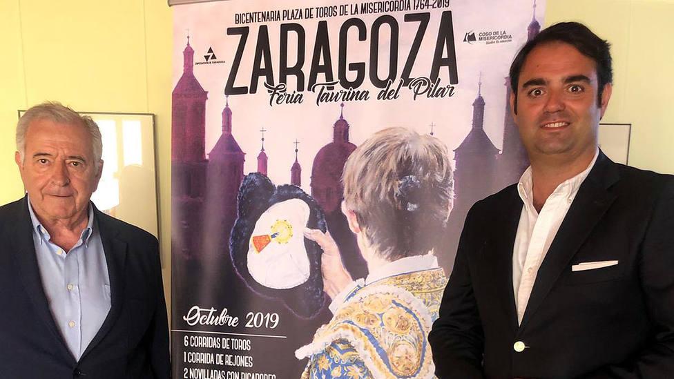 Los empresarios Julio Fontecha y Carlos Zúñiga en la presentación de la Feria del Pilar de Zaragoza