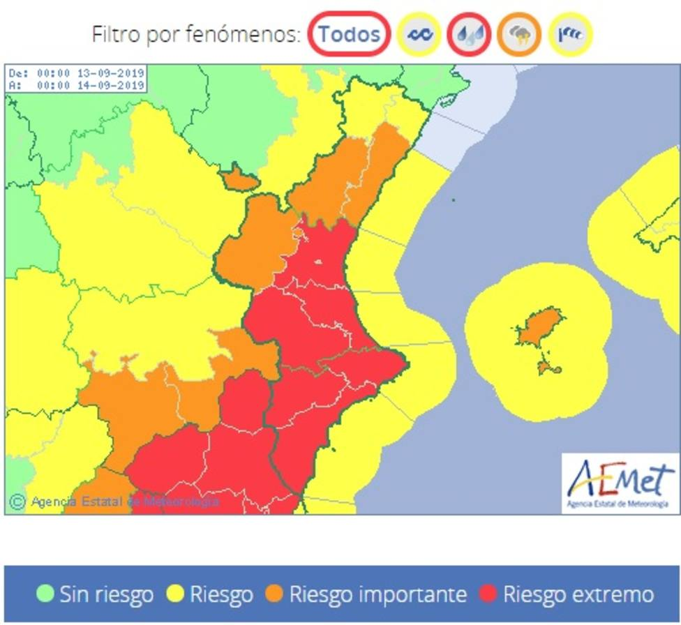 Pueden darse lluvias superiores a los 140l/m2 en la provincia de Castellón.
