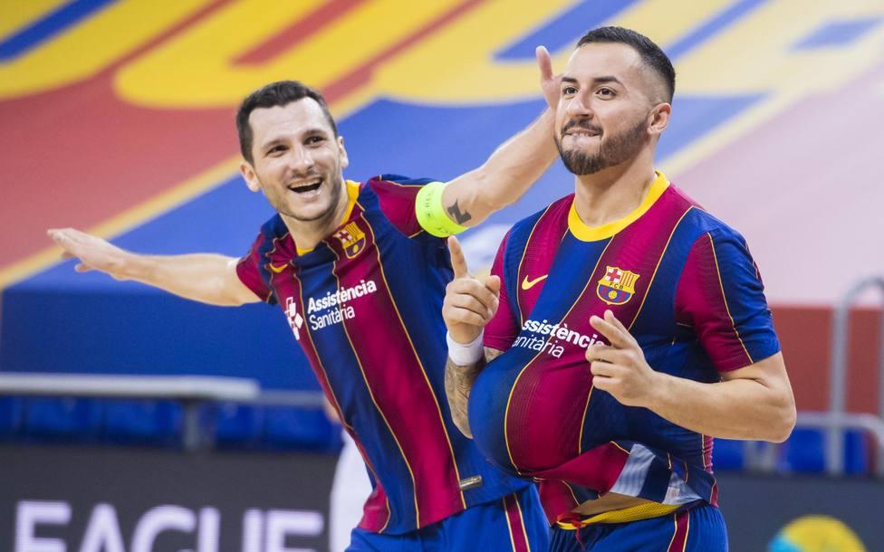 El Barça celebra uno de sus goles en Champions (@FCBfutsal)